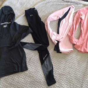 Lot of Small Under Amour 3 UA Tops and 1 pant